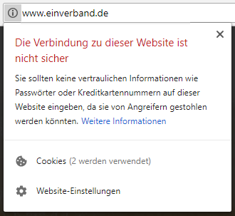 "Warnung des Browsers ""Chrome"""